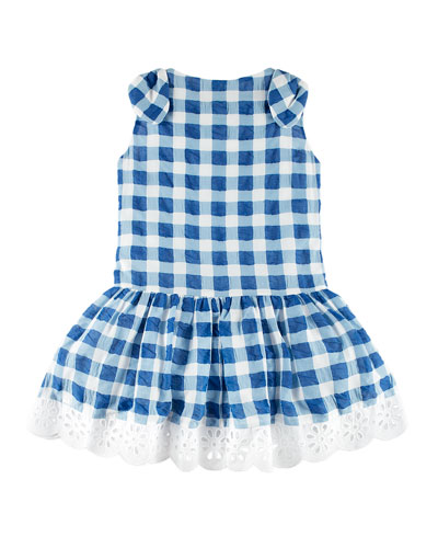 Gingham Dress w/ Flower Hem, Blue, Size 4-10