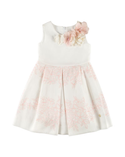 Sleeveless Floral Dress, White, Size 4-10