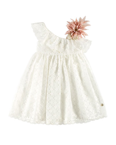 One-Shoulder Geo Dress w/ Flower Ornament, White, Size 4-10