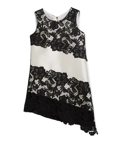 Sleeveless Sheath Lace Asymmetric Dress, Black/White, Size 7-16
