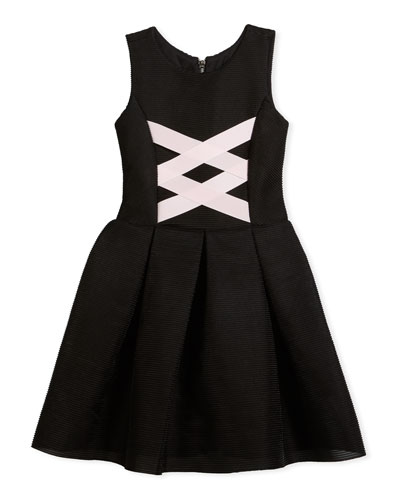Box-Pleat Sleeveless Dress w/ Ballet Lace-Up Front, Black/Pink, Size 4-6X