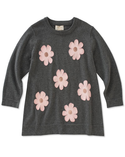 swing flower applique sweater, size 7-14