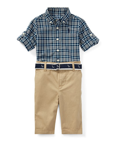 Oxford Plaid Shirt w/ Pants & Anchor Belt, Size 9-24 Months