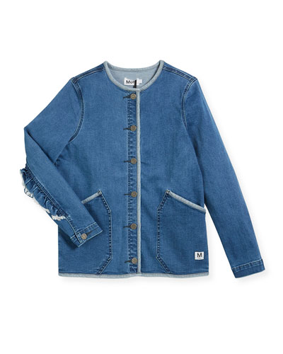 Hannie Denim Jacket w/ Ruffle Sleeves, Size 4-14