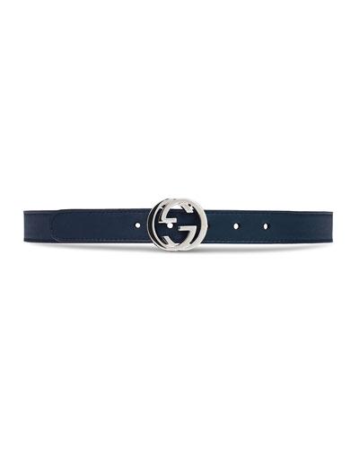 b1fc0ca85ab Kids' Leather Belt w/ Interlocking G Buckle