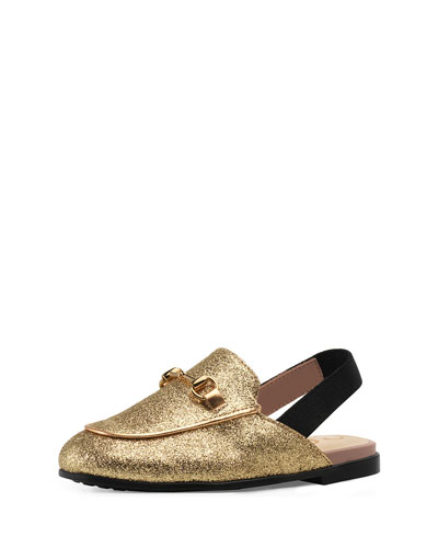 Princetown Glittered Horsebit Mule Slide, Toddler