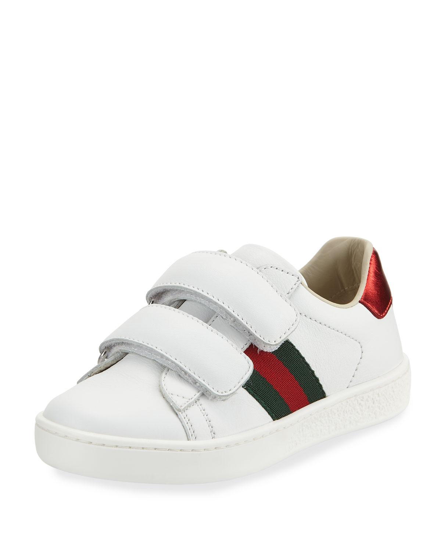 Gucci Enfants Sneaker En Cuir Avec Enfant En Bas Âge Web - Blanc Jzf58