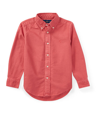 Garment-Dye Oxford Button-Down Shirt, Red, Size 2-4
