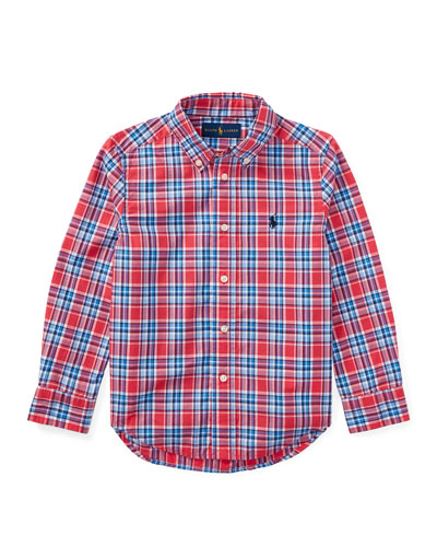 Poplin Plaid Button-Down Shirt, Red, Size 5-7