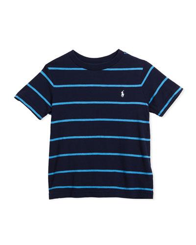 Slub Jersey Stripe T-Shirt, Blue, Size 2-4