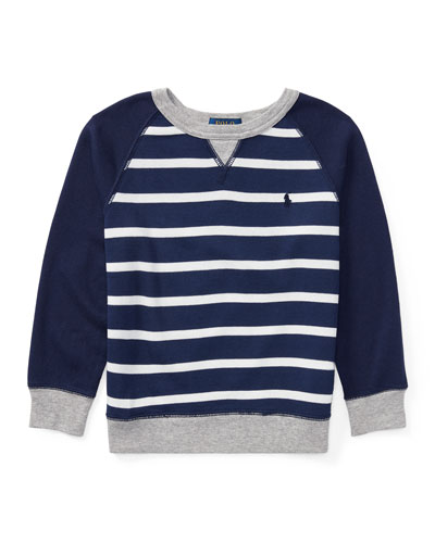 Spa Terry Stripe Knit Sweater, Blue, Size 2-4