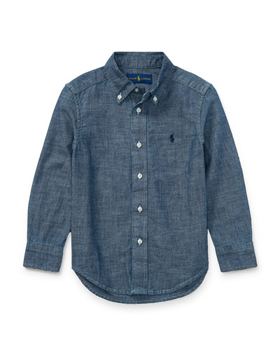Chambray Long-Sleeve Shirt, Blue, Size 5-7