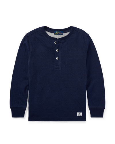 Duo-Fold Henley Knit Shirt, Blue, Size 5-7