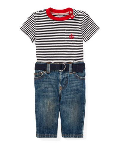 Striped Jersey Ringer Tee w/ Jeans & Belt, Size 6-24 Months