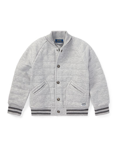 Double Knit Tech Baseball Jacket, Gray, Size 5-7