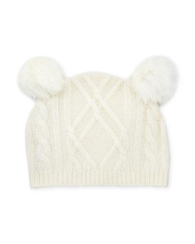 Cable-Knit Beanie Hat w/ Double-Pompoms