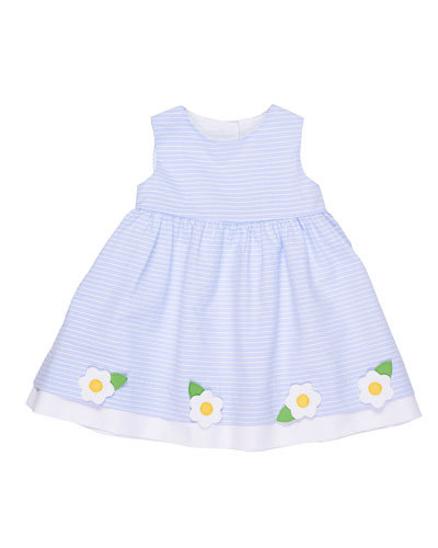 Stripe Sleeveless Dress w/ Flowers, Size 3-24 Months