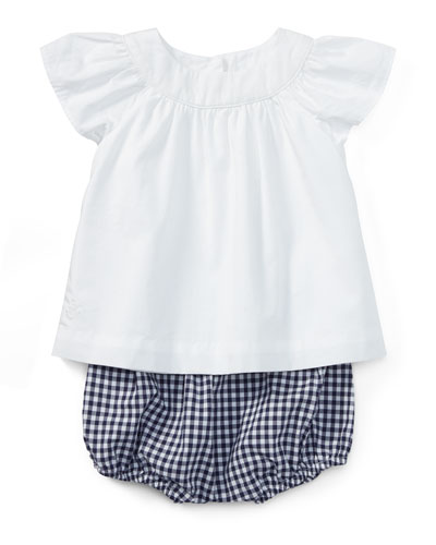 Batiste Pleated Blouse w/ Check Bloomers, Size 6-24 Months