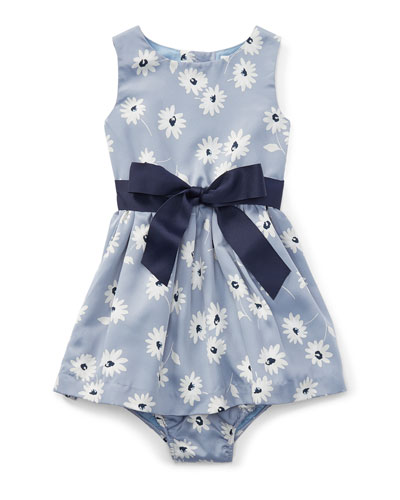 Twill Floral Dress w/ Bloomers, Blue, Size 6-24 Months