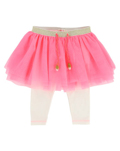 Leggings w/ Attached Tulle Skirt, Size 2-3