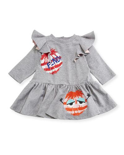 Pompom Monster Fit & Flare Dress, Size 3-9 Months