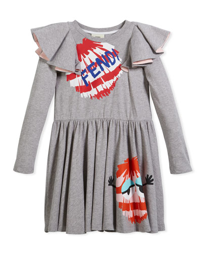 Long-Sleeve Ruffle Jersey Dress w/ Monster Pompom Graphic, Size 6-8