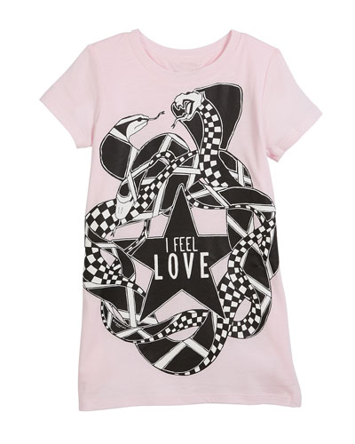 I Feel Love Snakes Jersey Shirt Dress, Size 6-10