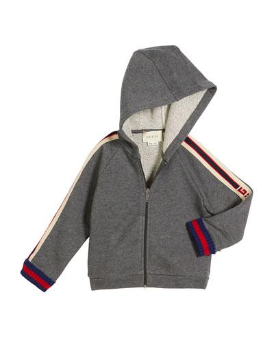 Zip-Up Hooded Sweatshirt w/ Logo Trim, Size 12-36 Months