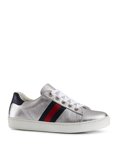 New Ace Metallic Leather Web Sneakers, Youth