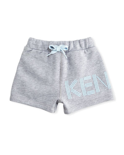 Cotton Drawstring Shorts w/ Logo Detail, Gray, Size 12-18 Months