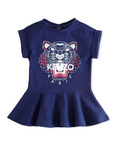 Tiger Face Drop-Waist Dress, Navy, Size 2-3