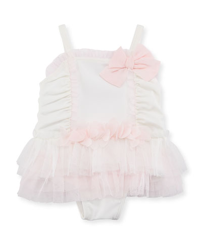 One-Piece Tulle Trim Swimsuit, Size 3-24 Months