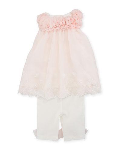 Sleeveless Rosette Top w/ Bow Leggings, Size 3-9 Months