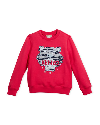 Pullover Sweatshirt w/ Striped Tiger Face, Pink, Size 8-12