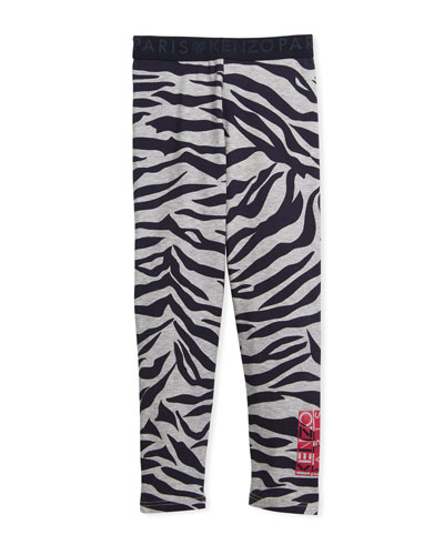 Tiger Stripe Leggings, Gray, Size 8-12