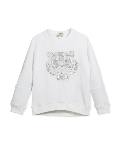 Drop-Shoulder Sweatshirt w/ Metallic Tiger Face, White, Size 8-12