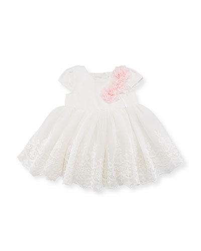 Short-Sleeve Embroidered Dress, White, Size 3-24 Months