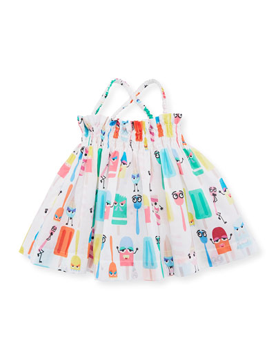 Ice Cream Print Sleeveless Dress, Size 12-24 Months