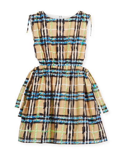 Candra Cutout Tie Check Scribble Dress, Size 4-14