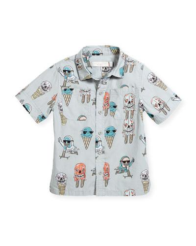 Rowan Ice Cream Monster-Print Button-Down Shirt, Size 12-36 Months