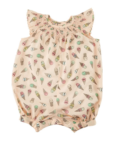 Sun Smocked Ice Cream-Print Playsuit, Size 6-24 Months