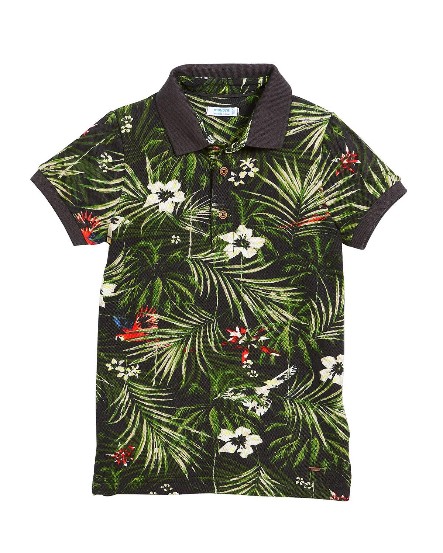 Short-Sleeve Jungle-Print Polo, Size 4-7