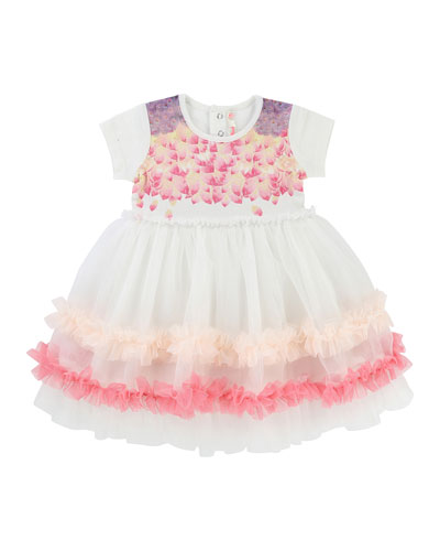 Short-Sleeve Jersey & Tulle Dress, Size 2-3