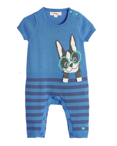 Surf Dog Intarsia Short-Sleeve Playsuit, Blue, Size 0-18 Months