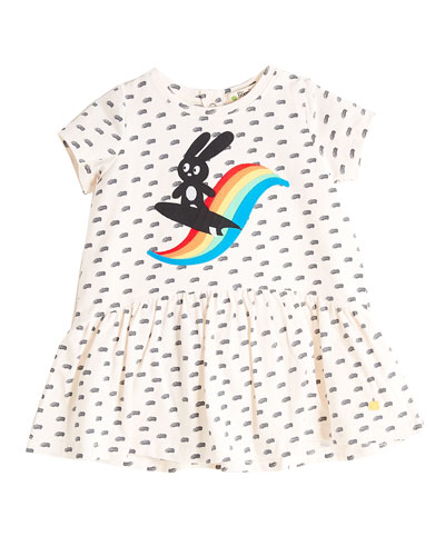 Short-Sleeve Printed Dress w/ Surfing Bunny Appliqué, Size 6-24 Months