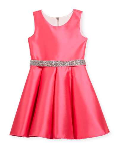 Matte Sateen Swing Dress w/ Crystal Belt, Size 7-16