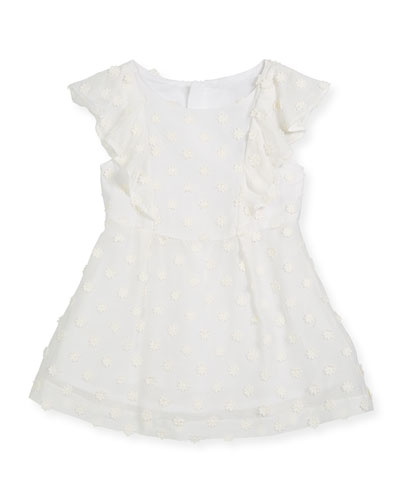 Daisy-Embroidery Ruffle Dress, Size 4-7