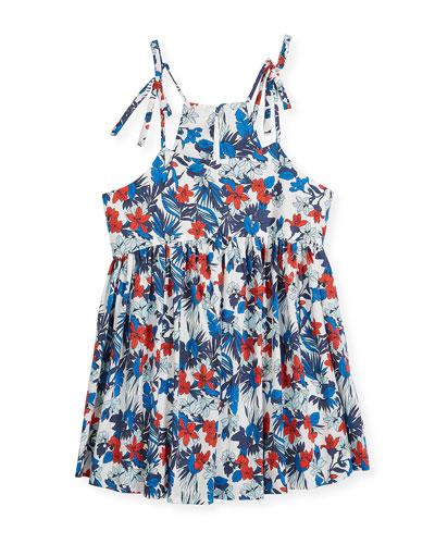 Hibiscus-Print Tank Dress, Size 8-16