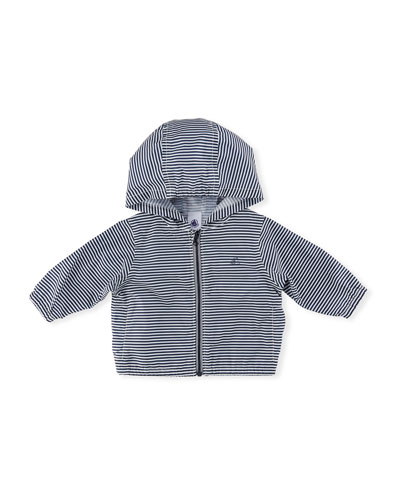 Hooded Zip-Up Striped Windbreaker Jacket, Size 6-36 Months