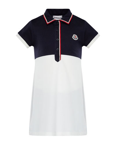 Two-Tone Short-Sleeve Polo Dress w/ Flag Trim, Size 4-6